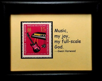Electric Guitar & Keyboard Music Germany -Handmade Framed Postage Stamp Art 0805W