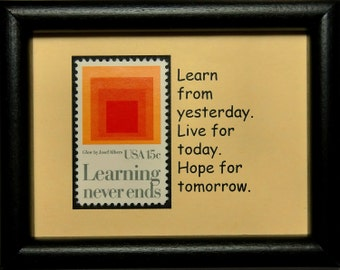 Learning never ends Glow by Jose Albers USA -Handmade Framed Postage Stamp Art 0185W