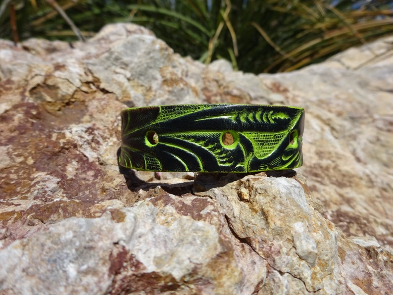 upcycled leather cuffgreen floral cuffwomans leather cuff braceletmens leather cuffleather jewelrytooled flower cuffleather bandC11