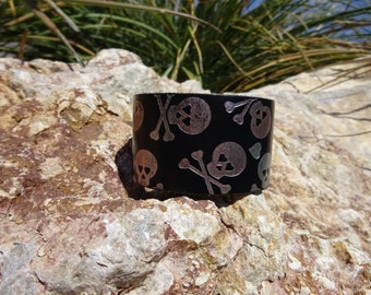 leather cuff/womans leather cuff bracelet/skeleton cuff/leather jewelry/teen girls/upcycled leather cuff/rocker cuff/leather bracelet/C14