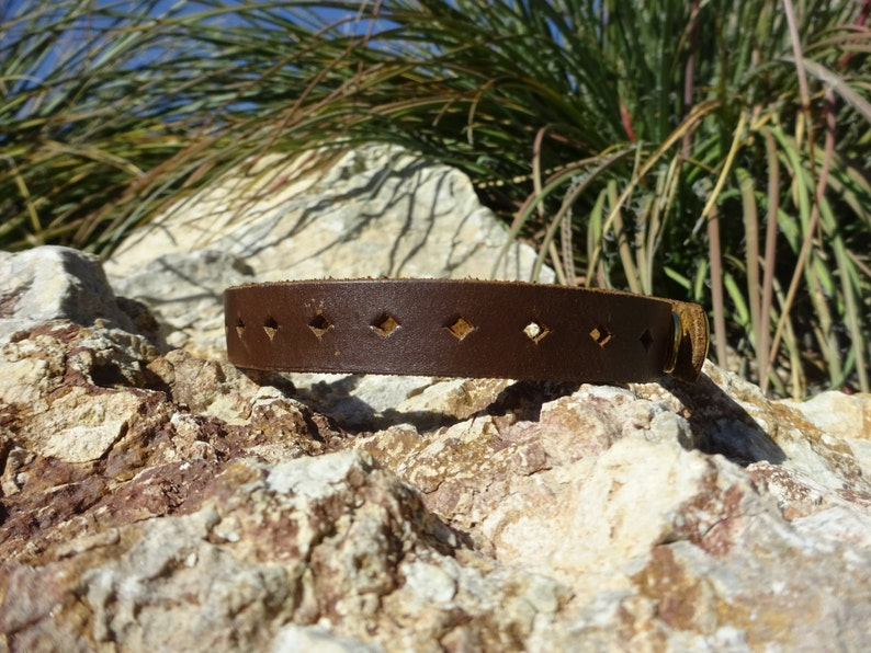 brown leather chokerunisex leather chokermens necklacewomans necklaceleather jewelryrepurposedupcycled leather chokerCH75