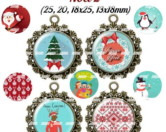 60 digital images for Christmas 2 cabochon (25, 18 x 25, 20, 18x13mm)