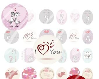 INSTANT DOWNLOAD Bottle cap images love valentin's day