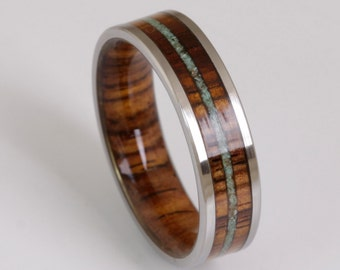 wood wedding band mens wedding ring TURQUOISE ring WOOD ring man jewelry