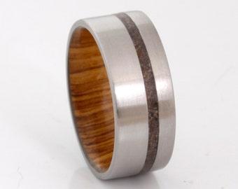 Titanium wedding band wood ring dinosaur bone ring man jewelry woman ring flat band