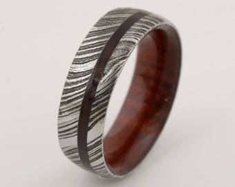 wood ring DAMASCUS steel ring wood wedding band man ring COCOBOLO WOOD ring