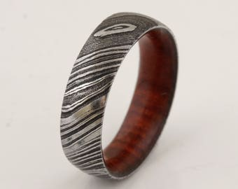 wood ring DAMASCUS steel ring wood wedding band man ring COCOBOLO