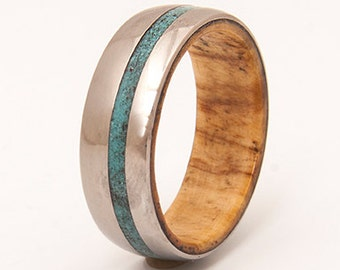 Mens Titanium and Turquoise wedding band wood ring olive wood ring