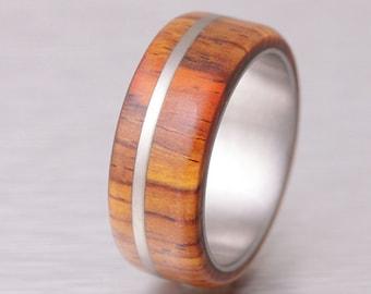 mens wedding band wood ring titanium ring band Cocobolo ring