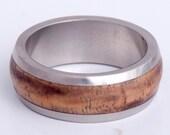 wood wedding band with Hawaiian Koa inlay titanium dome band mens wedding ring engagement wedding gift for her him