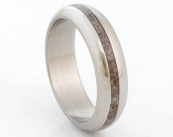 Dinosaur bone ring fossil ring titanium rounded band mens wedding band woman ring