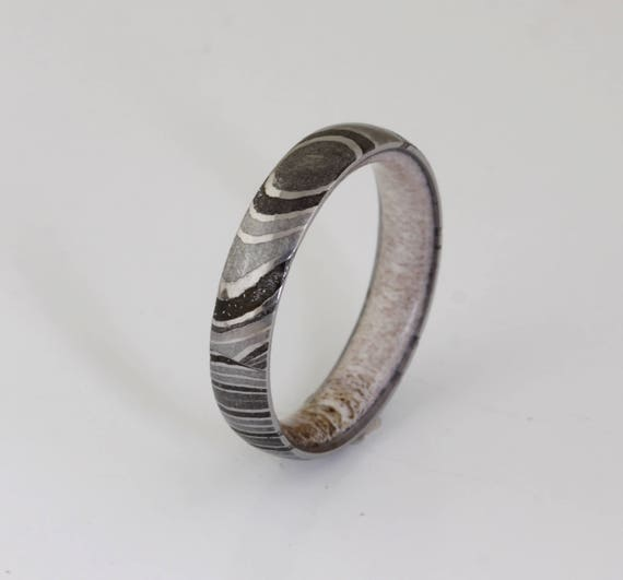 Antler Ring Damascus Steel Ring Antler Wedding Band Mens Etsy