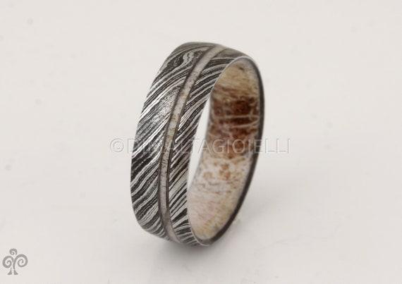 ANTLER RING DAMASCUS steel ring Antler wedding band mens wedding ring Antler ring man woman ring