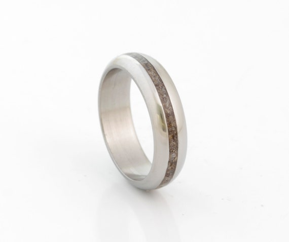 Dinosaur Bone Ring Fossil Ring Titanium Rounded Band Mens Etsy