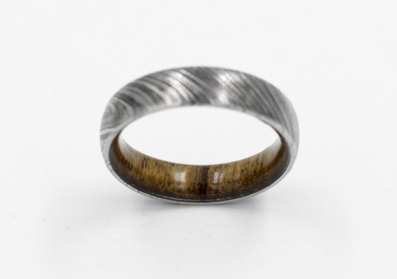wood ring DAMASCUS steel ring wood wedding band man ring TEAK WOOD ring inside wood band