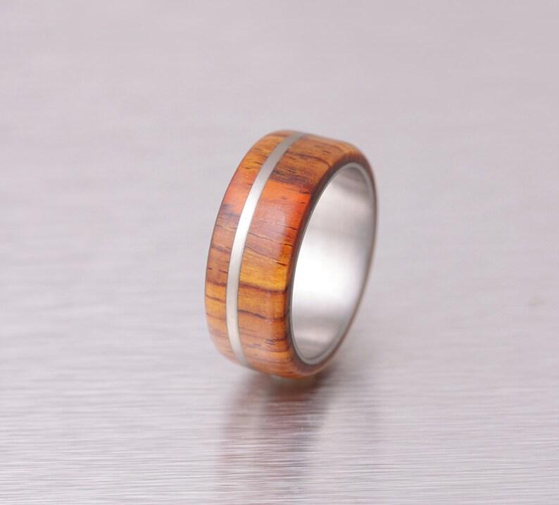 mens wedding band wood ring titanium ring band Cocobolo ring image 0
