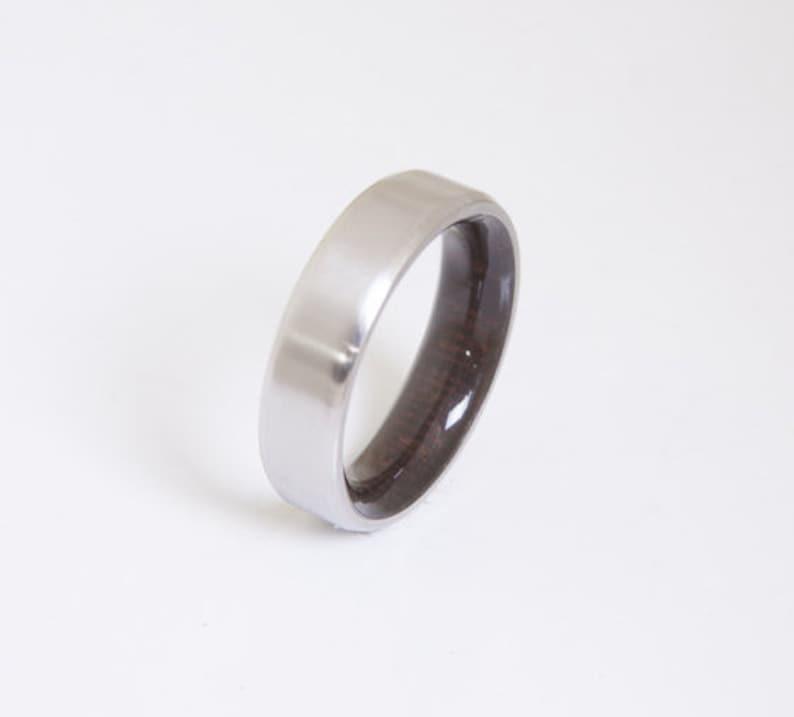 Mens Wood Wedding Band  Titanium Wood Ring  Alternative image 1