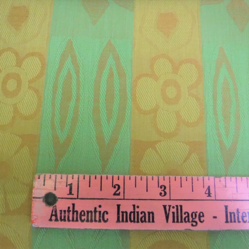 MCM Green /& Gold Brushed Cotton Remnant Fabric 44 W x 58 L