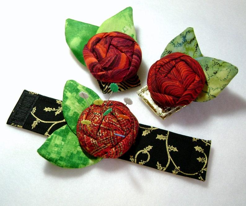 Beautiful Rose Wrist Corsage Pin Cushion Flower Pin Cushion Pin Cushion Fabric Rose Rose Bracelet Sewing Gift PC-7