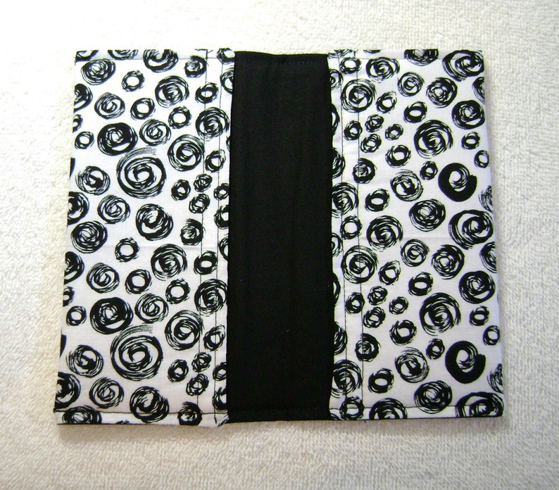 Quilted Checkbook Cotton Fabric Black And White Swirls CC103 Checkbook Quilted Checkbook Cover Fabric Checkbook Covers