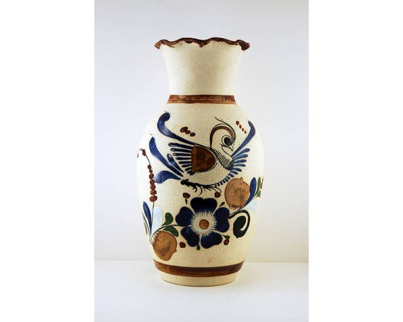 Vintage Tonala Vase, Mexico Folk Art, Bird and Flowers, Signed by JC, 11  Inches Tall, Tan Earthenware Pottery with Cobalt Blue and Brown