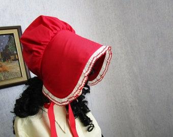 5d3eec6d866 Adult Victorian Sun Bonnet Prairie Pioneer Hat Cotton Red White Ruffled