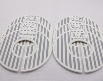 Custom Baby Closet Dividers Clothes Organizers Gray White Stripes Baby Boy Girl Shower Gift Assembled