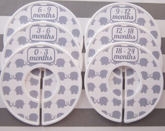 Custom Baby Closet Dividers Gray Elephants Closet Dividers Baby Shower Gift Boy Girl Closet Organizers Assembled CD1044