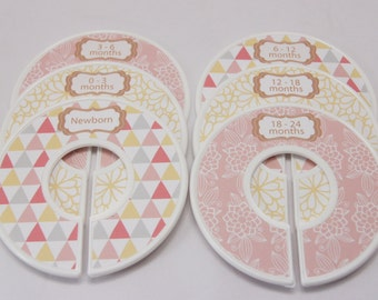 Baby Closet Dividers Baby Shower Gift Baby Girl Geometric Gift Peach Nursery Closet Organizers Premade