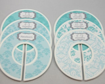 Custom Baby Closet Dividers in Teal Baby Shower Gift Closet Organizer Finished Closet Dividers