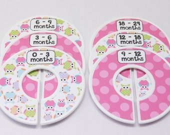 Custom Baby Closet Dividers Baby Shower Gift Clothes Organizers Girl Owl Nursery Pink Assembled