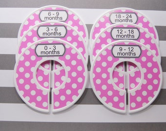 Baby Closet Dividers Hot Pink White Dots Baby Shower Gift Closet Organizer Girl Assembled