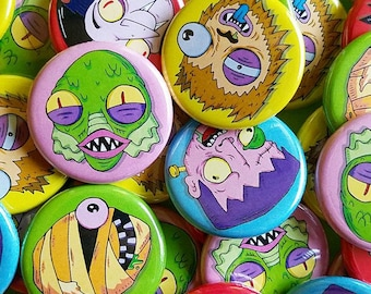 CLASSIC MONSTER Button Pack!!! 5 horror buttons/badges