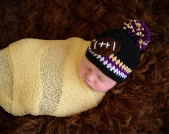 05d84952a5b Crochet Baltimore Ravens Inspired Beanie--- Any size---