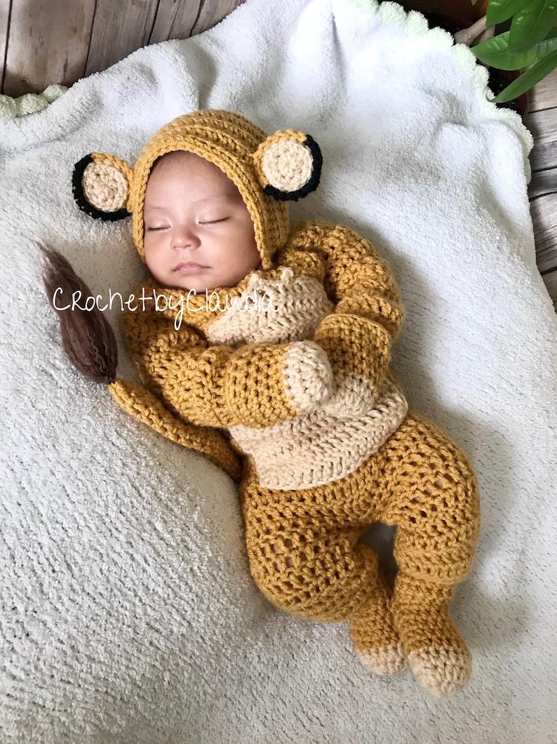 Crochet Baby Lion PhotoProp Set