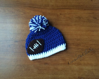 Crochet Indionapolis Colts Inspired Beanie--- Any size---