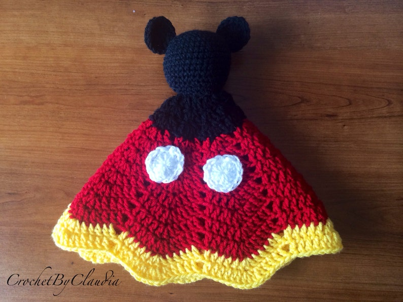 c50e80b1c Mickey Mouse Inspired Lovey/ Security Blanket/ Amigurumi Doll/ Crochet  Mickey Mouse -- Made To Order