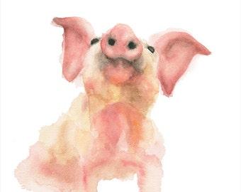 Piglet Watercolor Print
