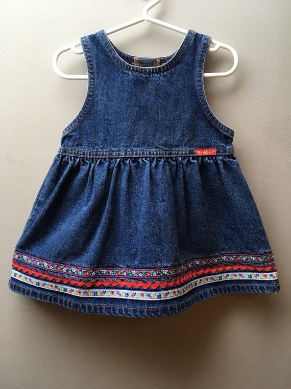 18M-Vintage OSH KOSH Medium Blue Denim Dress with Floral and Rickrack Trim