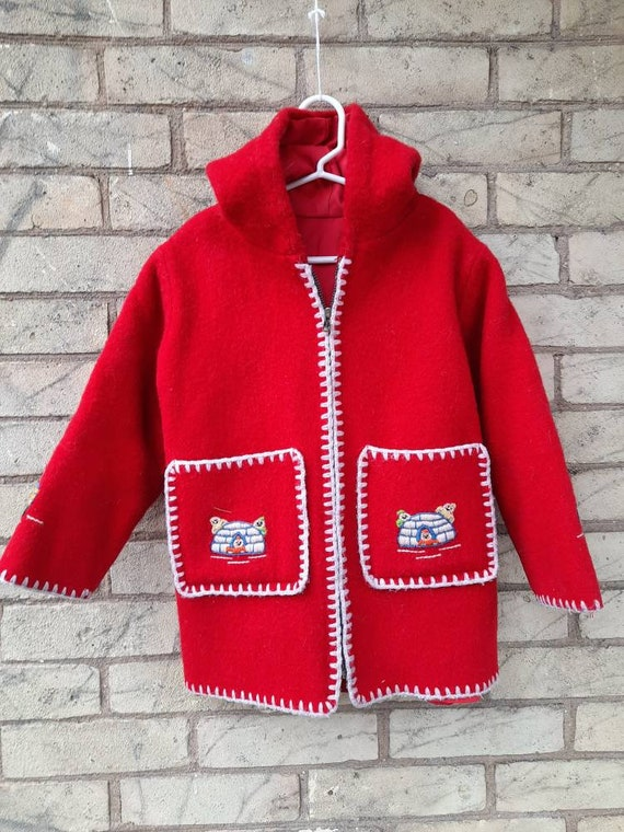 Children's VINTAGE Bright Red Wool Parka/Coat
