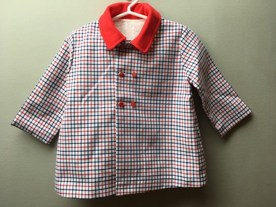 Vintage Blue, Red and White Checkered Polyester Ja