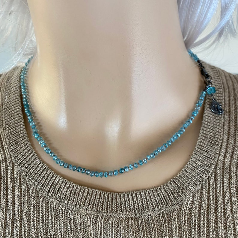 Knotted Faceted Apatite necklace-17 inch-Light Blue Madagascar-hand oxidized Sterling-Gemstone necklace-Fine Jewelry-Minimalist gmestone
