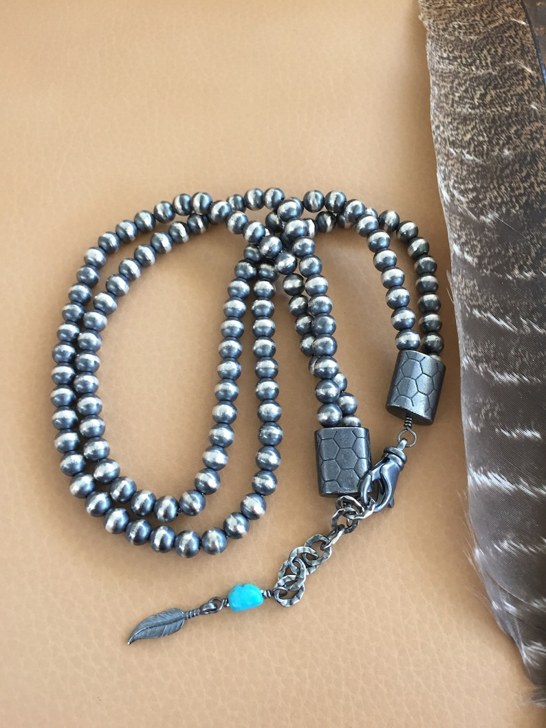 Navajo Pearls-2 strand-6mm Seamless Oxidized 925 Sterling-16 N 17 inch-adjustable-Kingman Turquoise-Isa Stone-Chain Necklace-Classic