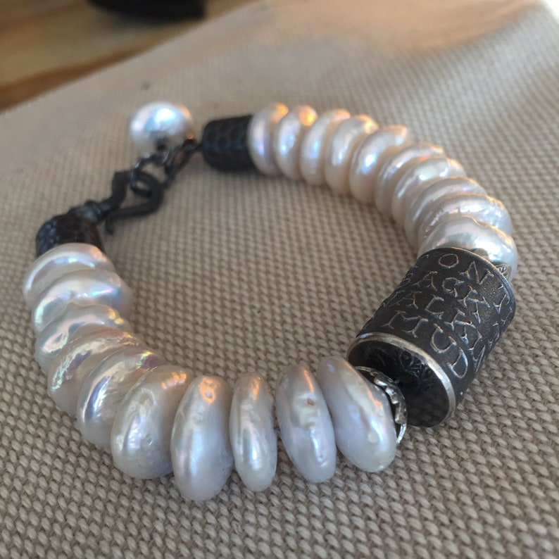 White Fresh Water Pearl Bracelet-Anne Choi Ride not on the devils back to avoid walking in the mud-FW Pearls-Fine Sterling-Hinged Clasp