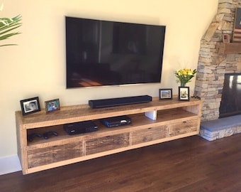 Floating Notched Leg Media Console Tv Stand