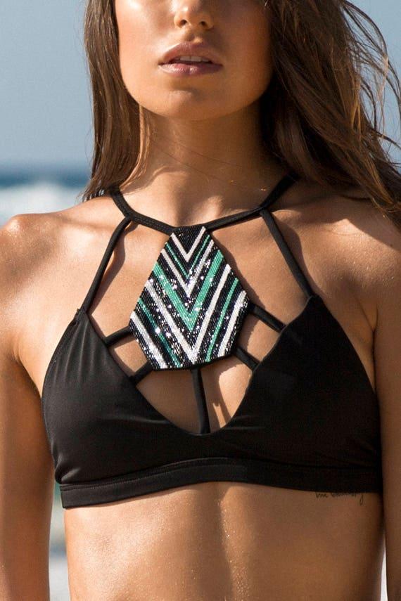 9d369099494f2 Cassiopeia High neck Strappy Beaded Bikini sports top
