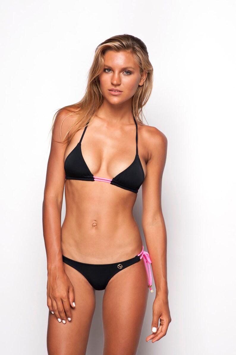 c6ae723f5030d Adara Halter Neck Triangle Cut Bikini Top Black   Neon Pink