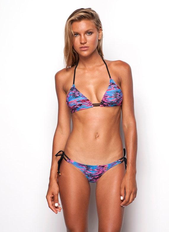 8159a0ef9132c Adara Halter Neck Triangle Cut Bikini Top Blue   Pink Ocean