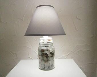 Seaglass,Sea glass Jar/Bottle Lamp,Light,Lighting.