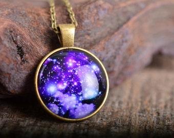 Galaxy necklace, space necklace, nebula necklace, sky necklace, galaxy jewelry, space jewelry, galaxy pendant, space pendant, stars necklace